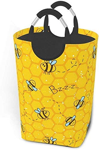 Cesto de lavandería grande, alto, lindo con abejas y panales Cesto de ropa plegable con asas de aluminio Cesto de ropa grande Cesto de ropa para niños Cesta de almacenamiento redonda para ropa de dorm