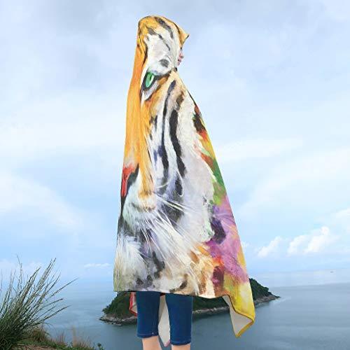 Zhcon Koraal Fleece Dieren Leeuw Tijger Ontwerp Hooded Deken Oversized Warm Hood Poncho Mantel Cape Mens Vrouwen Kinderen