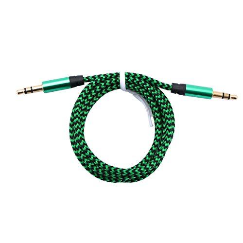 Kongqiabona-UK Cable de Audio de aleación de Aluminio Macho a Macho Cable de Audio de 3,5 mm Línea de grabación Trenzada de Color Auxiliar Cable Universal para automóvil