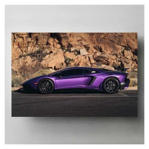 RHWXAX Pinturas de Lona Aventador SV Púrpura Super Coche Black Wheels Vehículo Pósteres Modern Wall Art Impresiones para la decoración de la Sala de Estar 20x28 Inch Sin Marco