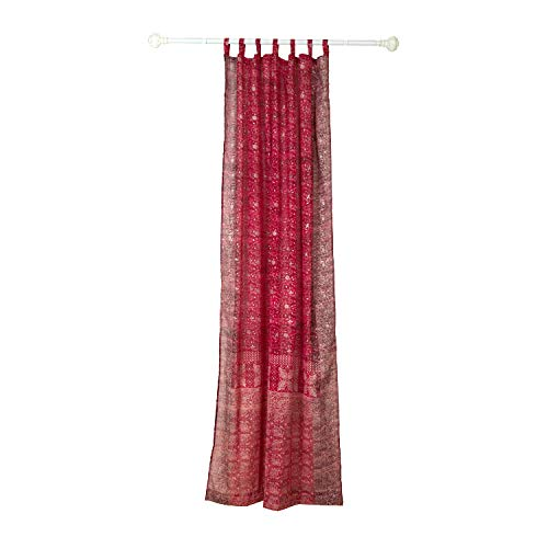 """Colorful Window Treatment Draperies Indian Sari panel 108 96 84 inch for bedroom living room dining room kids teens canopy boho curtains with Gift bag (Red Maroon, 42""""W x 96""""L)"""