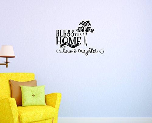 Motif Vinyle Avec 2 recharges de 2044 2 Hot nouveaux autocollants Bless cette maison avec Amour et rire Art mural Taille : 40,6 x 61 cm Couleur, 40,6 x 61 cm, Noir