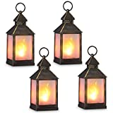 zkee 11' Vintage Style Decorative Lantern,Flame Effect LED Lantern,(Golden Brushed Black,4 Hours...