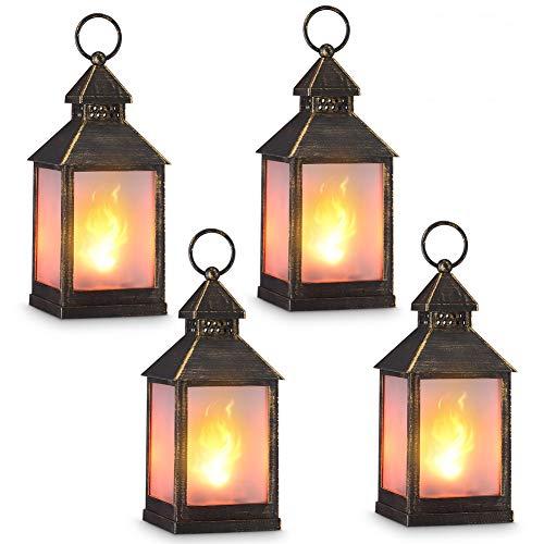 """zkee 11"""" Vintage Style Decorative Lantern,Flame Effect LED Lantern,(Golden Brushed Black,4 Hours Timer) Indoor Lanterns Decorative,Outdoor Hanging Lantern,Decorative Candle Lanterns (Set of 4)"""