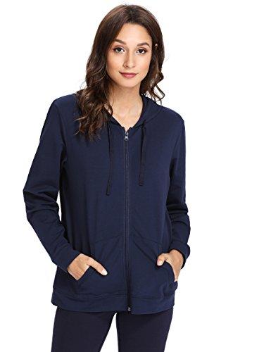 Weintee Women's Cotton Jersey Zip up Hoodie 2X Plus Navy