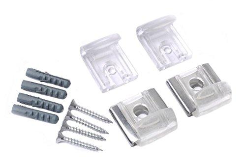 Kit di fissaggio a parete per specchi, vetri e pannelli, con clip in plastica trasparente, ganci e staffe