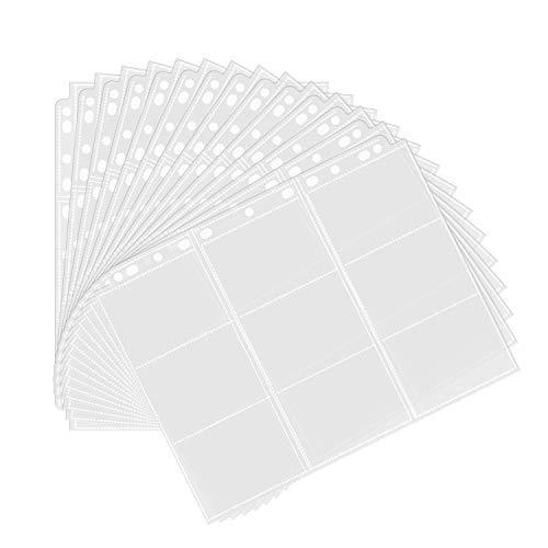 Album Ordnerseiten für Trading Cards 450 Pockets Sammelkarten 50 Seiten Pro 9-Pocket Leere Sammelmappe, Neutral, Transparent Sammelkartenzubehör