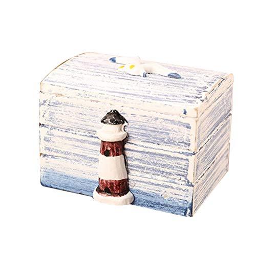 VOSAREA Holzbox Maritime Deko Holz Schmuckschatulle Kinder Schmuckkästchen Mädchen Schmuckkasten Aufbewahrungsbox für Hochzeit Schmuck (Leuchtturm)