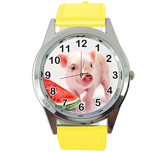 TAPORT® Horloge Analoog Kwarts met Echt Lederen Band Geel Rond voor Knorretje Babe Fans