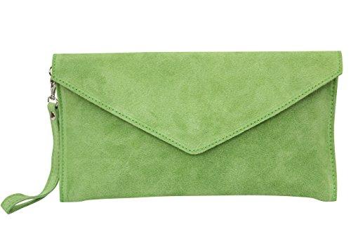 AMBRA Moda Damen Wildleder Envelope Clutch Abendtasche Partytasche Handschlaufe Suede Handgelenktasche Schultertasche Umhaengtasche Unterarmtasche Damentasche Veloursleder WL801 (Apfelgrün)