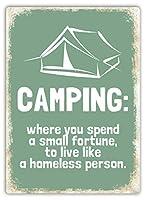Camping Live like a homeless person GREEN ティンサイン ポスター ン サイン プレート ブリキ看板 ホーム バーために