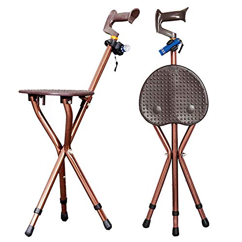 Folding Cane Seat 400 lbs Capacity 3 Legs Adjustable Height Walking Stick Tall with LED Light Unisex for Elderly Brown