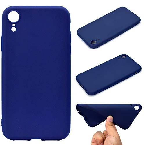 LeviDo Coque Compatible pour iphone XR Étui Silicone Souple Bumper Antichoc TPU Gel Ultra Fine Mince Caoutchouc Bonbons Couleurs Design Etui Cover, Bleu Foncé