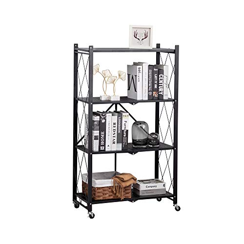 Alunaune 4-Tier Storage Shelving Unit Metal Adjustable Organizers Rolling Cart Display Wire Rack Shelf Home Kitchen Laundry Closet Cabinet Foldable-Black