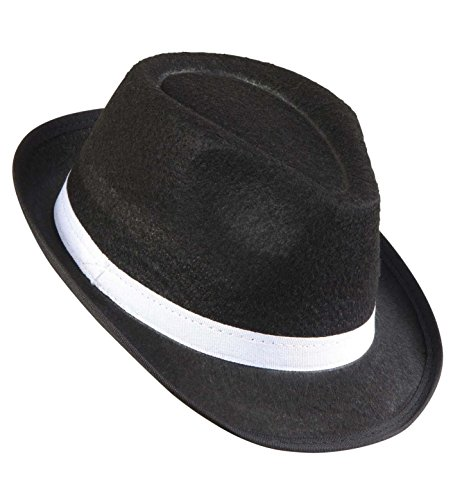 Widmann 8678C – Gangsterhut, schwarz, mit weißem Hutband, Kopfbedeckung, Accessoire, Hut, Charleston, 20er und 30er Jahre, Motto Party, Karneval, Halloween