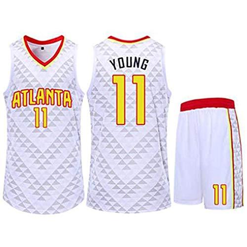 QAZWSX Baloncesto Jersey-Trae Young # 11 Atlanta Hawks Maillot de Traje para Adultos para niños, Tela Transpirable cómoda, Tops y Pantalones Cortos de Baloncesto-White-XS