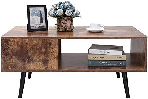 USIKEY Mid-Century Modern Coffee Table, Retro Rectangular Cocktail Table with Storage Shelf, TV Table, Sofa Table, Office Table, Accent Table, Easy Assembly, Rustic Brown