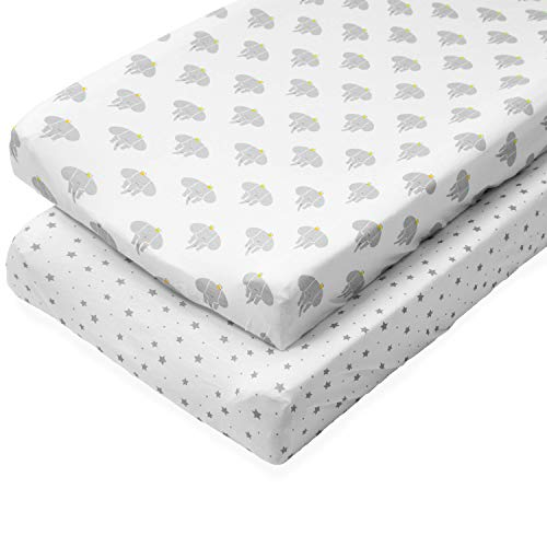 Organic Changing Pad Cover Set - 100% Organic Jersey Cotton - 2 Pack Unisex Design Gray and White - Best Baby Shower Gift Perfect for Bassinet Sheets for Boy or Girl 16X32 - by My Little North Star