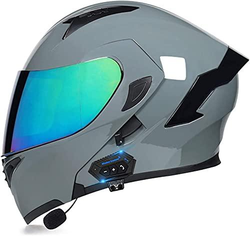 ZYQZYQ Casco de Bluetooth de la Motocicleta, Visor de Doble Sol Modular Tipo Doble Casco Completo, Casco Dot & ECETertificado, Contestación automática de Manos Libres (Color : 8, Size : M-57-58cm)