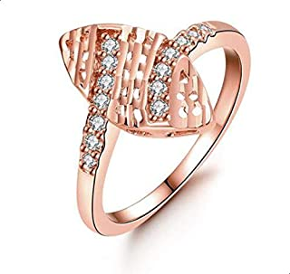 Ring for women in leafy gold with zircon size 8