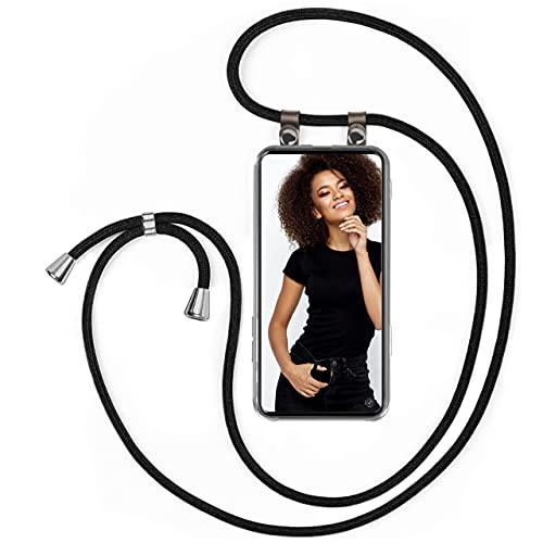 moex Handykette kompatibel mit Samsung Galaxy Note10 Lite Hülle mit Band Längenverstellbar, Handyhülle zum Umhängen, Silikon Hülle Transparent mit Kordel Schnur abnehmbar in Schwarz