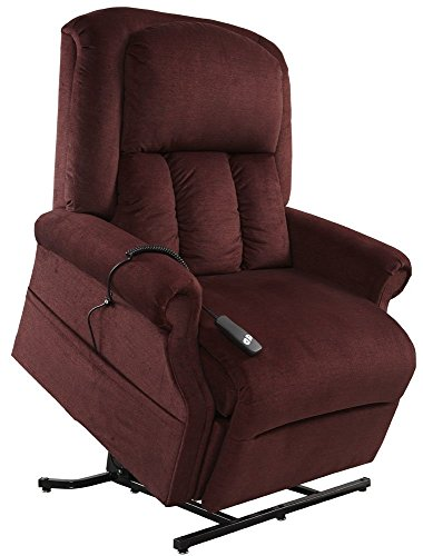 Mega Motion Easy Comfort Superior 3 Position Heavy Duty Big Lift Chair 500 lb Capacity Chaise Lounge Recliner - Bordeaux Red Fabric - White Glove Inside Delivery and Setup