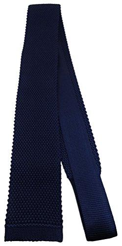 Blick. elementum - hochwertige Strickkrawatte in marine dunkelblau schwarzblau einfarbig Uni - Krawatte 100% Seide