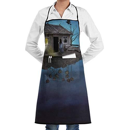 N\A Delantal con Babero de Chef de Cocina Cuervo Horrible Land Cuello Cintura Corbata Centro Canguro Bolsillo Impermeable