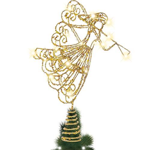 Valery Madelyn Weihnachtsbaumspitze 38cm Metall Christbaumspitze batteriebetriebe 20 Warmgelb LEDs beleuchtete Baumspitze mit Engel Figur bläst auf der Trompete Glitzernd Gold