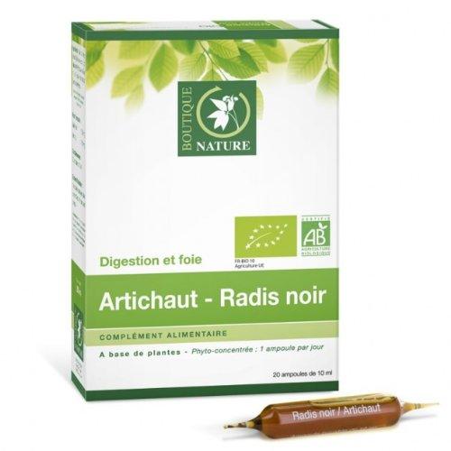 Boutique Nature - Complément Alimentaire - Artichaut/Radis Noir BIO - 2 Ampoules de 1 ml - Stimule la digestion