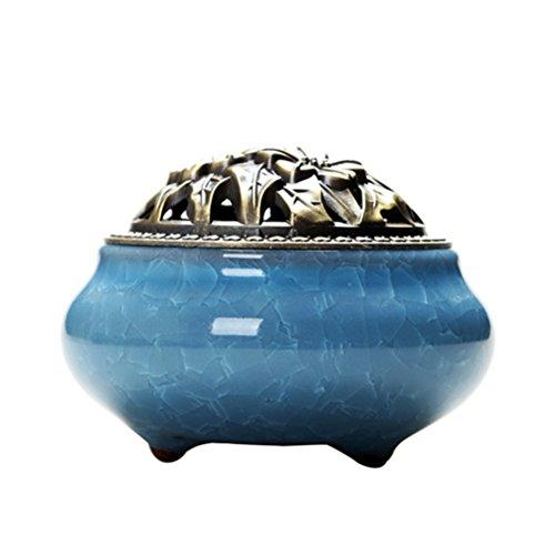 VORCOOL quemador de incienso de cono con estuche de incienso de aleación Calabash Brasero de incienso de cerámica a Bandejas (Azul Cielo)