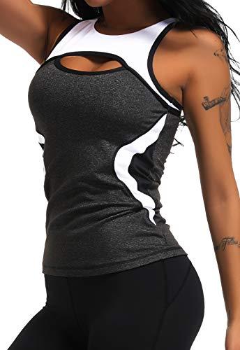 CROSS1946 Damen Sporttop Yoga Colorblock Oberteil Laufen Fitness Funktions Shirt Tank Tops Schwarz Large