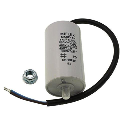 AnlaufKondensator MotorKondensator 14µF 450V 40x70mm Leitung M8 ; Miflex ; 14uF