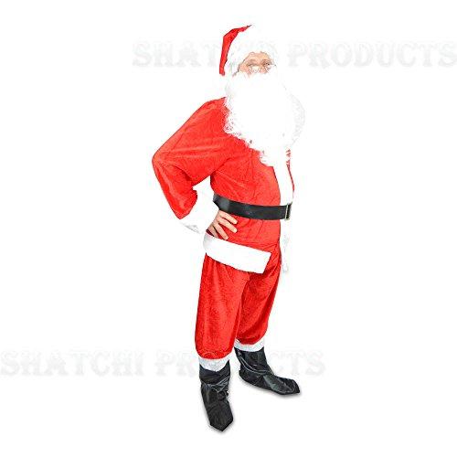 8pcs Premium Regal Plush Santa Suite Father Christmas Xmas Party Fancy Dress Costume Accessories STANDAR SIZE large
