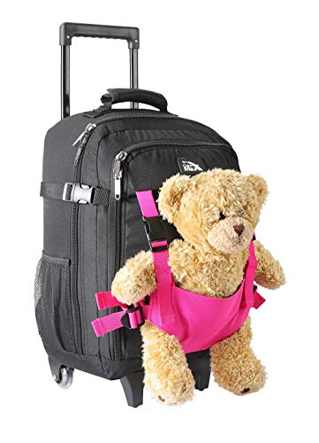 Cabin Max Teddy Bear Bag | Kids Suitcases on Wheels | Hand Luggage Sized 50x34x20cm (Black/Pink)