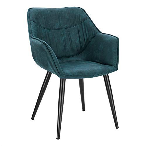 WOLTU Poltroncina da Camera Sedia con Braccioli Poltrona Relax Imbottita per Salotto Sala d'Attesa in Tessuto Metallo Blu BH99bl-1