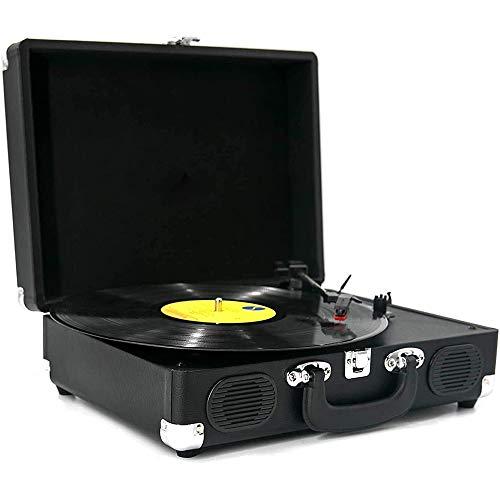 Ashey Tocadiscos, Tocadiscos De Vinilo con 2 Altavoces Incorporados, Reproductor Portátil De Vinilo LP De 3 Velocidades, Salida RCA, Entrada AUX, Conector para Auriculares (Negro)