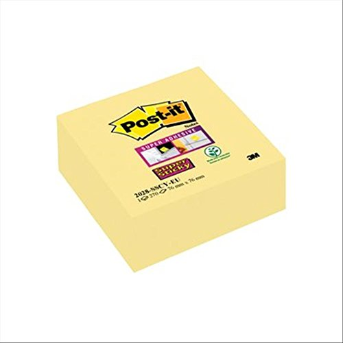 Post-it 2028-SCY Haftnotiz Super Sticky Würfel, 76 x 76 mm, 270 Blatt, gelb