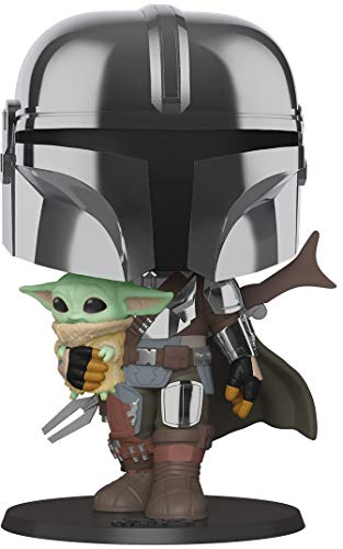 Pop! Star Wars: The Mandalorian - 10 Inch Chrome Mandalorian with The Child Vinyl Action Figure