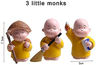 House of Crafts Set of 3 Resin Little Cute Baby Monk Buddha Swach Bhart Abhiyan Statue for Car Deshborad Table Office Home Decor Decorative Showpiece Idol House Decoration Make in India Diwali Gift