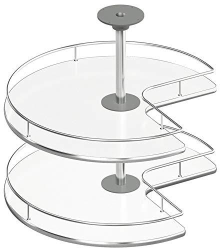 Gedotec Dreiviertelkreis-Drehbeschlag Schwenkbeschlag Küche Drehböden mit Tablarboden für Eckschrank | Drehteller Unter-Schrank | 900 x 900 mm | 1 Komplett-Set - Drehauszug mit 2 Drehtablare Ø 731 mm