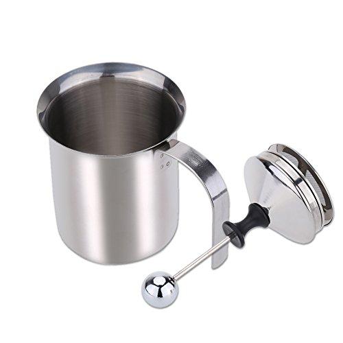 htovila 400mL Montalatte,Schiumalatte Acciaio Inox, La Doppia Rete, la Maniglia Resistente al Calore, per caffè, Latte, caffè Caldo al Cioccolato Cappuccino Foamer Crema