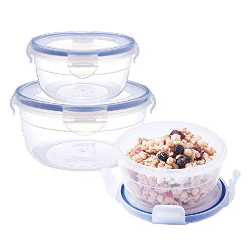 3Pack Baby Round Mixing Bowl Set Nesting Bowls for Food Prep Plastic Storage Mixing Bowls with Locking Lids Serving Salad Bowl with Lid BPA-FREE Microwave Safe Containers