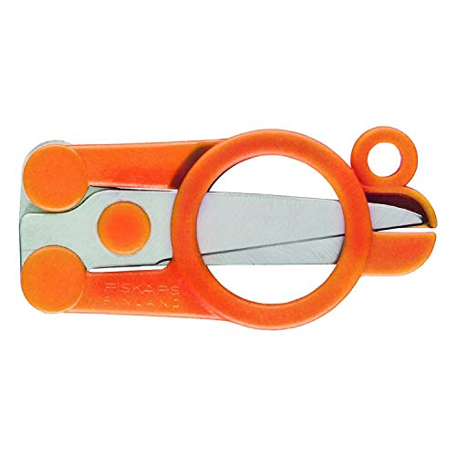 Fiskars Tijeras plegables, Longitud: 11 cm, Para diestros y zurdos, Hoja de acero inoxidable/Mangos de plástico, Naranja, Classic, 1005134