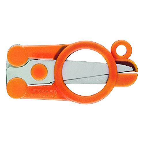 Fiskars Klappbare Schere, Länge: 11 cm, Für Rechts- und Linkshänder, Rostfreie Stahl-Klinge/Kunststoff-Griffe, Orange, Classic, 1005134