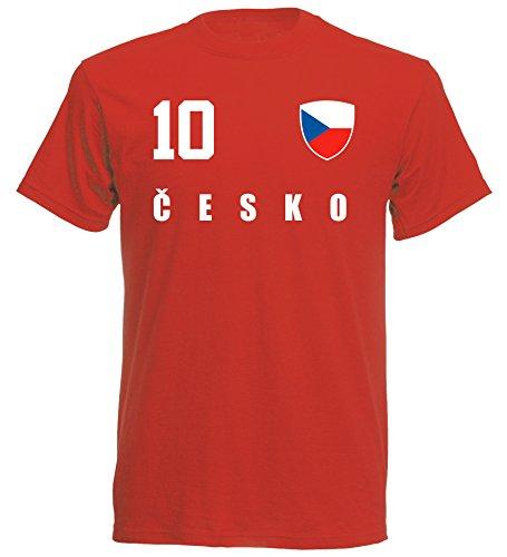 Tschechien WM 2018 T-Shirt Trikot Look - rot ALL-10 - S M L XL XXL (XL)