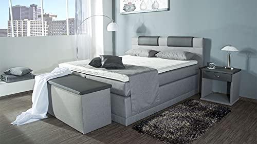AUKONA | Piano Boxspringbett 140x200cm 7 Zonen Taschenfederkern H2 H3 H4 Komfort Topper Kostenlose Anlieferung & Aufbau