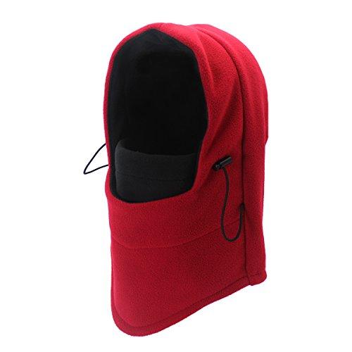 Outfly Vlies Sturmhaube Helm Winddicht Vollmaske Thermische Outdoor Kapuzen Hüte, Dual-Layer, R/B