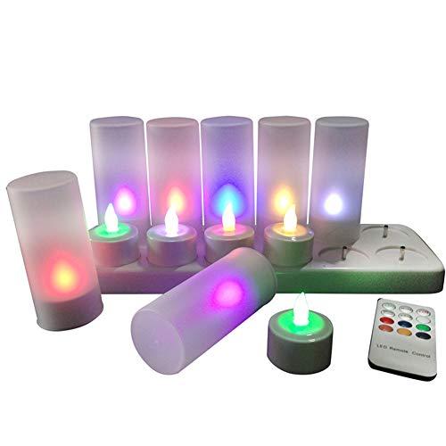 QSPORTPEAK 12 LED Velas, Recargables sin Llama Velas, Centelleante,LEDs Soporte De Carga Estación,Navidad, boda, fiesta(Multicolor Con control remoto)