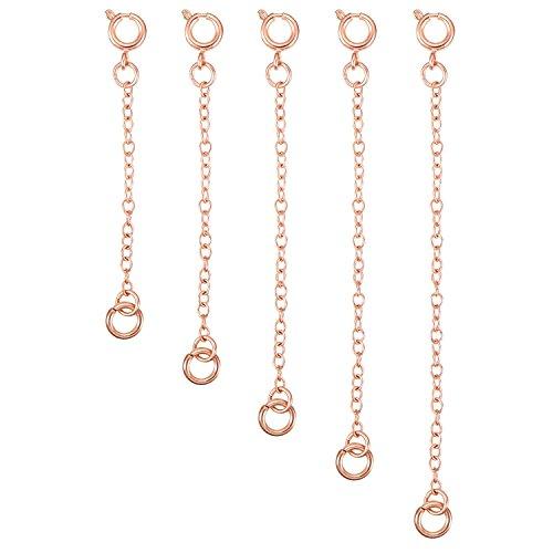5 Stück Halskette Extender Armband Verlängerung Kette Set für Halskette Armband DIY Schmuckherstellung (Rose Golden)